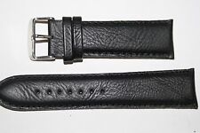 24mm Nero Indiano Pelle Imbottito Watch Strap Band Fibbia cromata. gratis P&P. (AE)