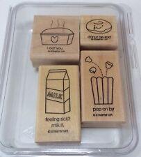 Stampin' Up! Comfort Food Set Of 4 Rubber Stamps Donut Be Sad I Loaf You Cute!
