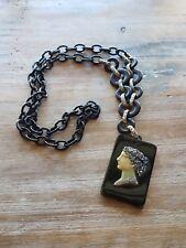 Vintage Black Celluloid Chain Green Black Hellenistic Cameo Plastic Necklace