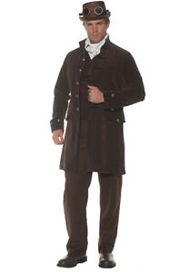 Frock Coat Victorian Steampunk Brown Poly Velvet Lined 3/4 Costume Coat