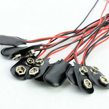 10pcs PP3 MN1604 9V Battery Holder Clip Snap Black Connector Cable New