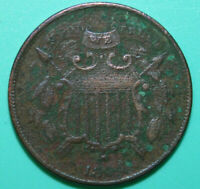1864 Small Motto Two Cent Piece - Damaged Corroded - 2C