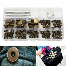 15mm Antique Brass Snap Fasteners Popper Press Stud Button Leather Kit Repair