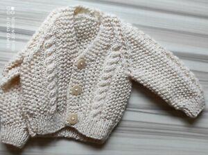 hand knitted cream baby aran cardigans new born x 2