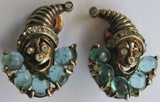 REJA VINTAGE STERLING RHINESTONE BLUE GLASS CLOWN JACK IN THE BOX CLIP EARRINGS