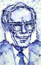 ISAAC ASIMOV portrait-ORIGINAL PAINTING! ONE of a KIND! foundation robot lucky
