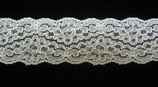 """Bridal Lace Ivory Re Embroidered 2 1/4"""" Double Scallop trimming 2 yards  #9480"""