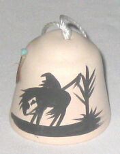 """Bell 2"""" Pottery Horse Rider Silhouette w Feather"""