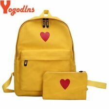 Yogodlns 2pcs High Quality Canvas Printed Heart Yellow Backpack Korean Style