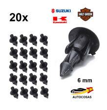 20 x 6 mm Remaches Plastico Alta Calidad Sujetador Moto Clips para Suzuki Harley