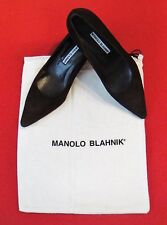 New Manolo Blahnik Dark Brown Suede Leather Mid Heel Pumps Sz 37, US 6.5 - Italy