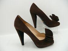 Prada Brown Suede Leather Peep Toe Bow Heels Shoes Sz 38.5 EU / 8.5 US