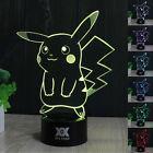 Pokemon Pikachu 3D LED Acrílico 7 Colores Luz de noche Lámpara Nocturna Regalos
