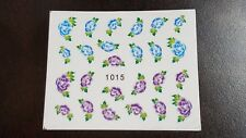 Nail Art Water Transfer Decal Stickers Purple and Blue Flowers 1015