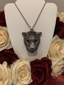 """Betsey Johnson clear crystal panther gray head pendant Necklace silver 28"""" chain"""