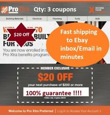 x3 Home Depot $20 off $200 For_Online_Use_Only Discount Fast Ship