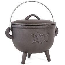 Oval Style 13.5CM Cast Iron Triple Moon Witches Cauldron Pot Pagan Gothic