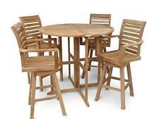 "Windsor's Genuine Grade A Teak 47"" Dropleaf Counter Table w/4 Swivel Chairs"
