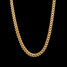 "22"" Franco Chain Real 14k Yellow Gold Square Hollow Box Necklace 1.5mm Wide"