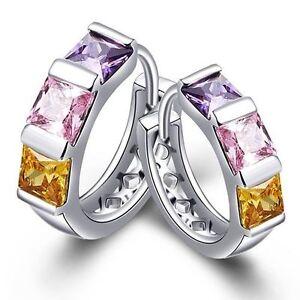 Ladies Cubic Zircon Square Purple, Pink & Yellow Stone Crystal Huggie Earrings