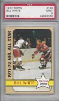 1972 Topps NHL hockey card #128 Bill White, Chicago Blackhawks graded PSA 9 Mint