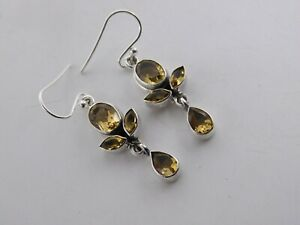 """5.20 Gm 925 Solid Sterling Silver Natural Citrine Cut Stone Earring 1.6"""" M-724/2"""