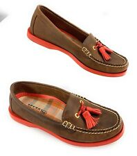 Sperry Top-Sider Boat Shoes Nubuck Leather Tassel Brown Orange Women's 6.5M