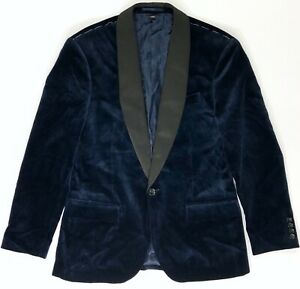 J Crew Ludlow Slim Velvet Blazer Dinner Jacket Satin K1528 Navy Blue sz 38S