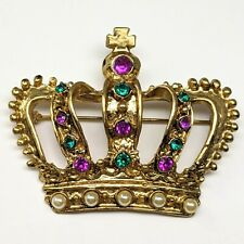 Mardi Gras Crown Pin Gold Tone Purple Green Rhinestones Brooch With Faux Pearls