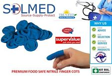 25 X FINGER COTS BLUE NITRILE MEDIUM LATEX FREE SIZE PREMIUM AEROSHIELD