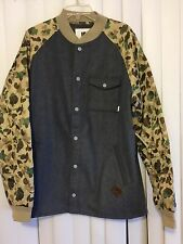 Burton Mens XL Ackley Ash Gray Flannel Camo Down Ragland Sleeve Jacket NWT Bape