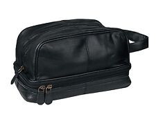 Genuine Leather Dopp Kit Shaving Toiletry Travel Bag for Men Onyx Black