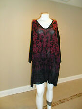 Catherines womens plus Pullover Top  Black/Pink/Purple Paisley Pattern 4X NEW