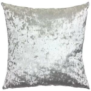 """SET OF 2 UK MADE CRUSHED SILVER GREY VELVET LUXURY 17"""" CUSHIONS £19.99 COMPLETE"""