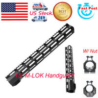 15'' Super Slim M-LOK Clamping Handguard Quadrail Rail Free Float Nut For Rifle