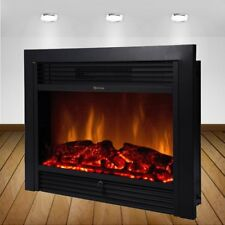 "28.5"" Embedded Fireplace Electric Insert Heater Glass View Log Flame Remote Home"