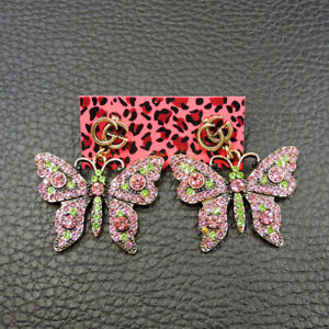 New Fashion Betsey Johnson Rare Alloy Rhinestone Pink Butterfly Earring Jewelry