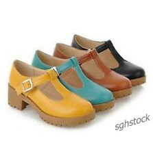 Womens T-strap Lolita Mid Heel Oxford Mary Jane Buckle New Pumps Shoes Plus Size