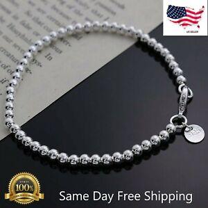 Womens 925 Sterling Silver Love Cuff Bead Ball Open Bangle Charm Bracelet