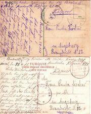 1918 Germany Military in Turkey Feldpost 511 & 2216 - Truppe 703 - 2 Postcards