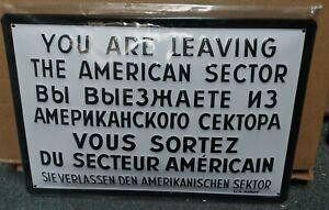 Checkpoint Charlie Berlin, Estampé Métal 3D Mural Signe 30x20cm Américain Sector