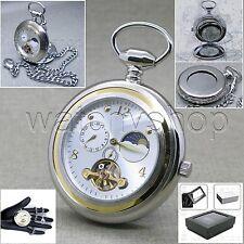 Tourbillon Mechanical Pocket Watch Silver Men Sun Moon Small Second on Chain 111