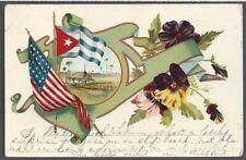 CUBA ~ RARE POSTCARD, SPANISH PERIOD BACK, U.S. & CUBAN FLAGS used 1898-99 as is