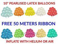 "30-100 HELIUM Pearlised Latex Balloons 10"" Wedding Birthday Party CHRISTENING"