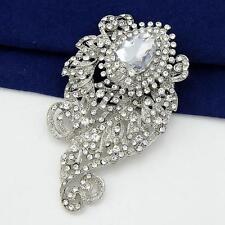 Elegant Big Large crystal rhinestone brooch pin wedding bridal party gifts decro