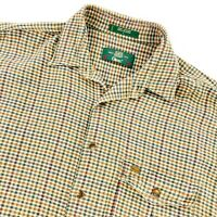 Orvis Men's Cotton Flannel Button Work Shirt Leather Trim Beige Plaid • LARGE