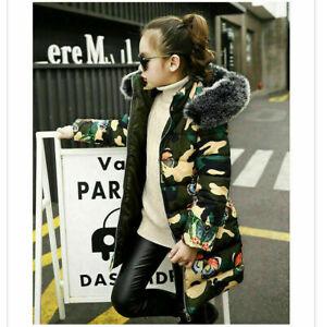 Kids Girls Winter Warm Hooded Coat Padded Thick Parka Long Fur Cotton Jacket UK