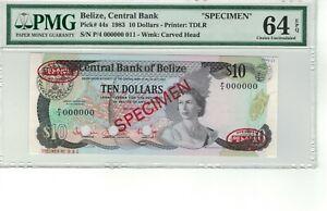 BELIZE P# 44s 1983 10 DOLLARS SPECIMEN PMG 64 EPQ CHOICE UNC