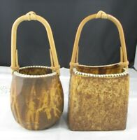 Pair of STONEWARE / ART POTTERY Baskets with Bamboo Handles BOTH Signed MINT