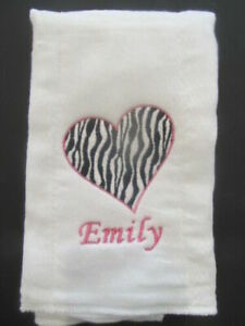 Zebra Heart Embroidered burp cloth Personalized